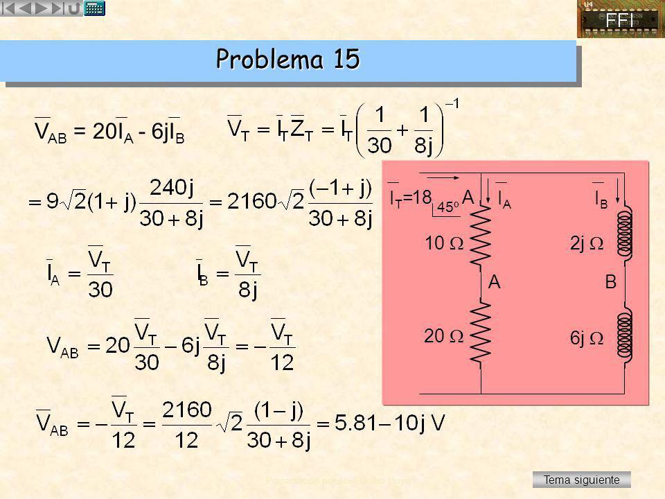 Problema 15 VAB = 20IA - 6jIB IT= IA IB 18 A 45º 10  2j  A B 20 