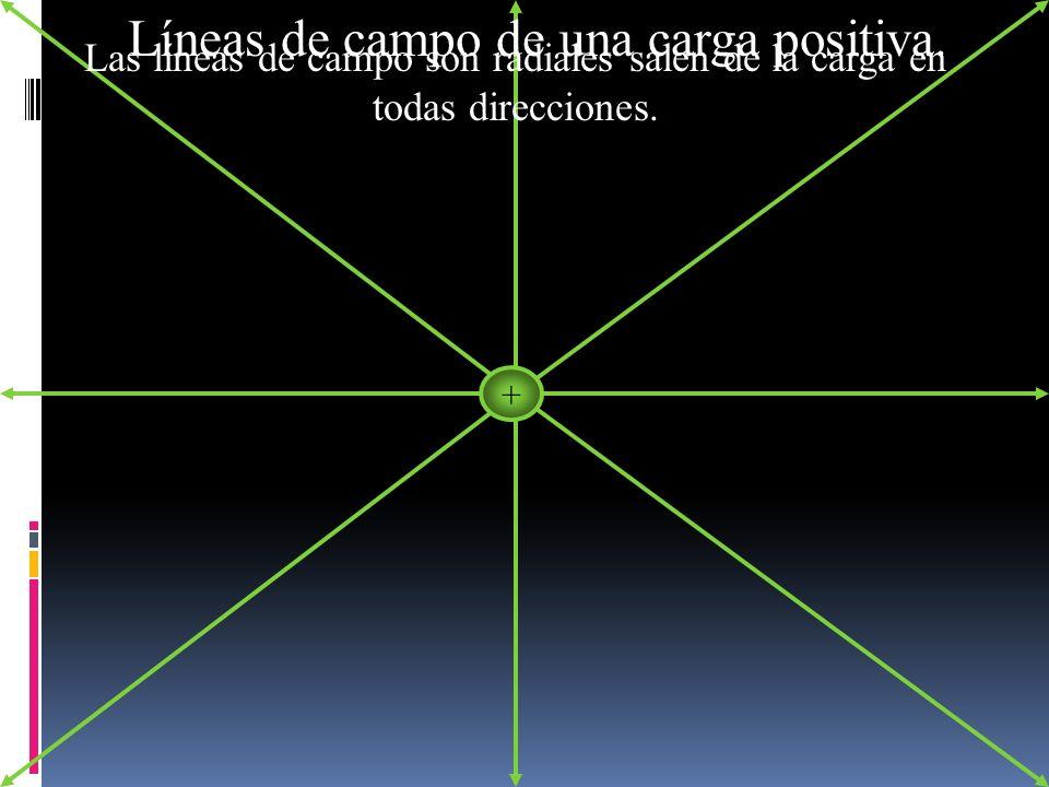 Líneas de campo de una carga positiva.