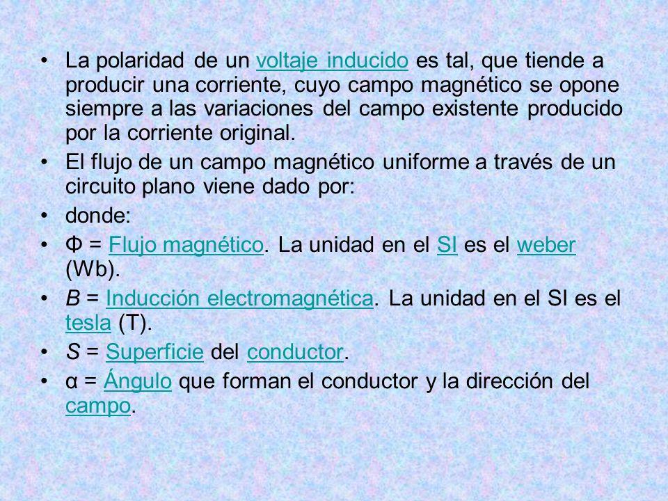 La polaridad de un voltaje inducido es tal, que tiende a producir una corriente, cuyo campo magnético se opone siempre a las variaciones del campo existente producido por la corriente original.