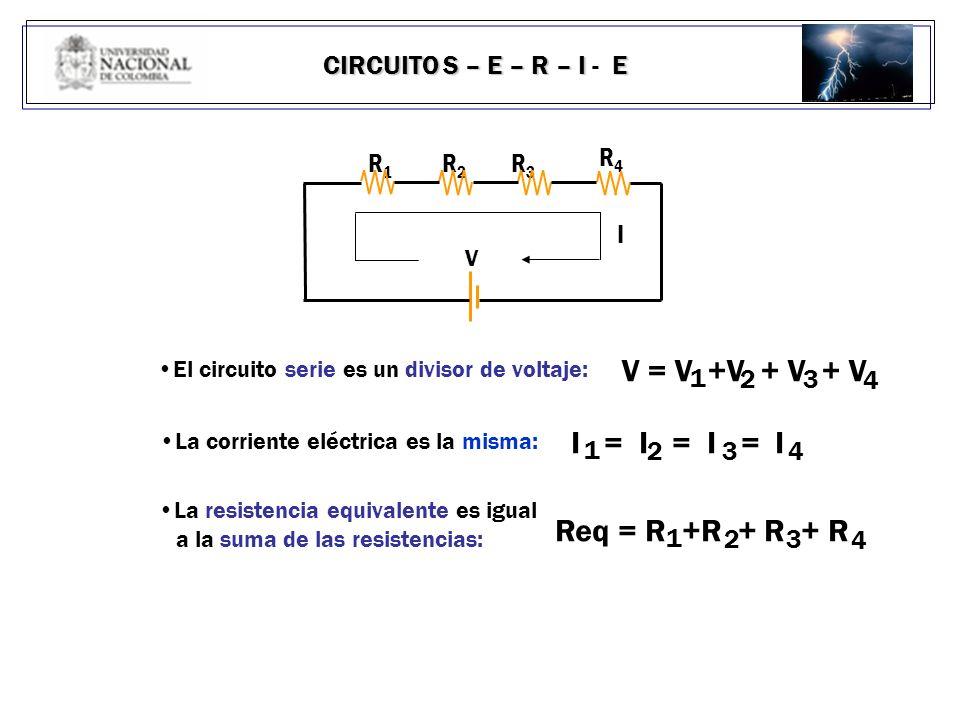V = V +V + V + V I = I = I = I Req = R +R + R + R