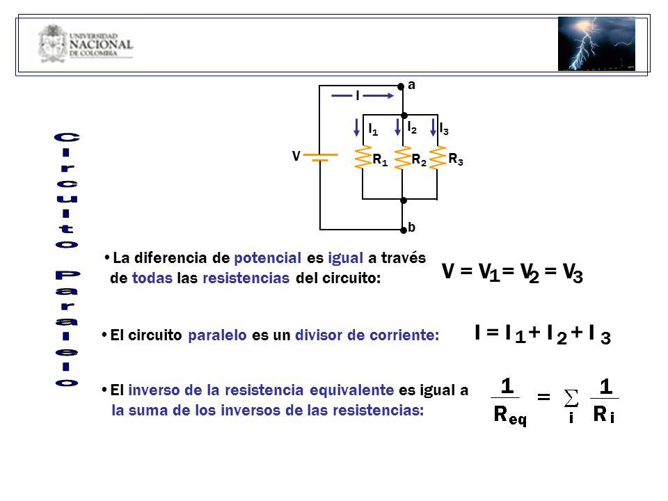 Circuito Paralelo V = V = V = V I = I + I + I 1 2 3 1 2 3