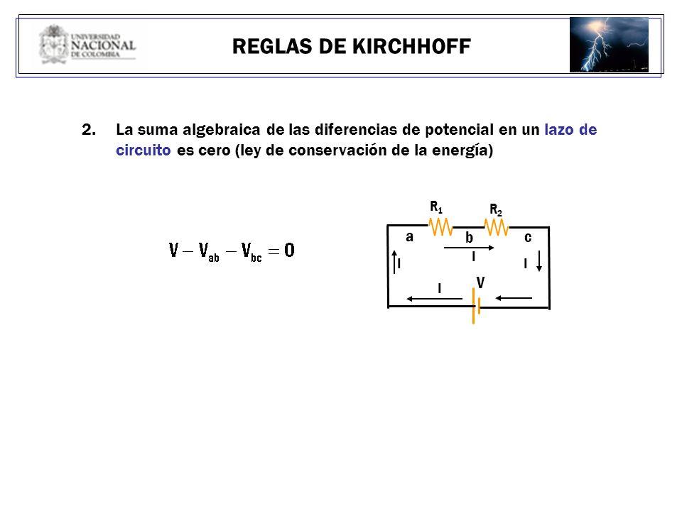 REGLAS DE KIRCHHOFF La suma algebraica de las diferencias de potencial en un lazo de circuito es cero (ley de conservación de la energía)
