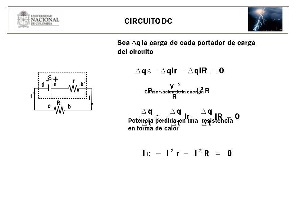 e - + CIRCUITO DC Sea Dq la carga de cada portador de carga