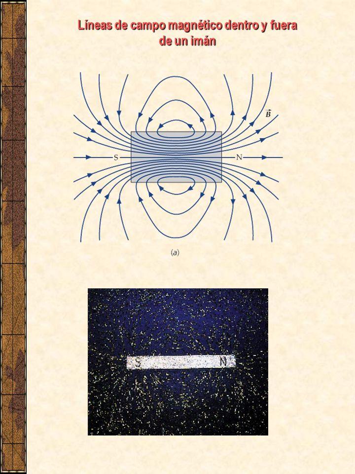 Líneas de campo magnético dentro y fuera de un imán