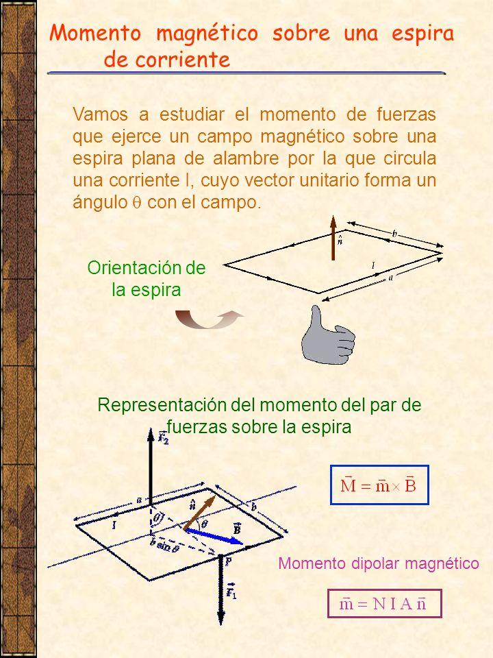 Momento magnético sobre una espira de corriente