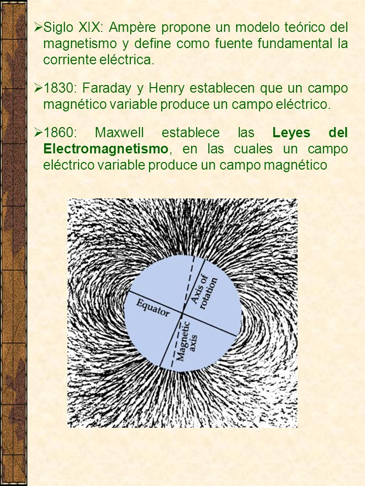 Siglo XIX: Ampère propone un modelo teórico del magnetismo y define como fuente fundamental la corriente eléctrica.