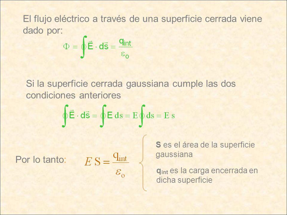 El flujo eléctrico a través de una superficie cerrada viene dado por: