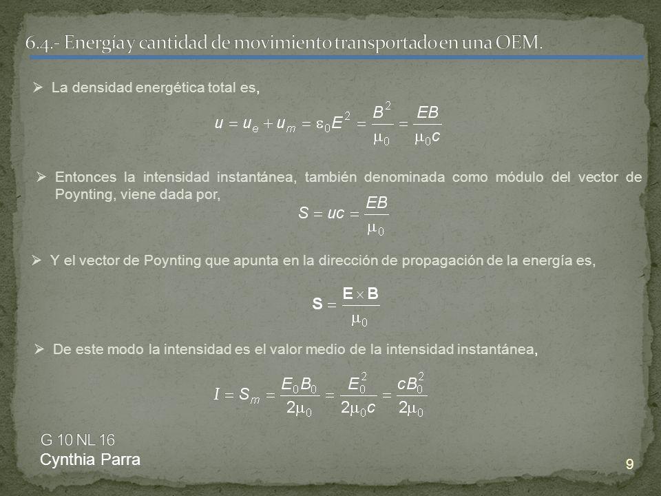 6.4.- Energía y cantidad de movimiento transportado en una OEM.