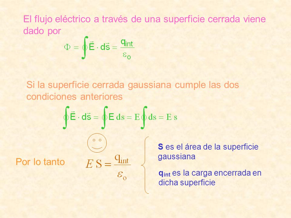 El flujo eléctrico a través de una superficie cerrada viene dado por