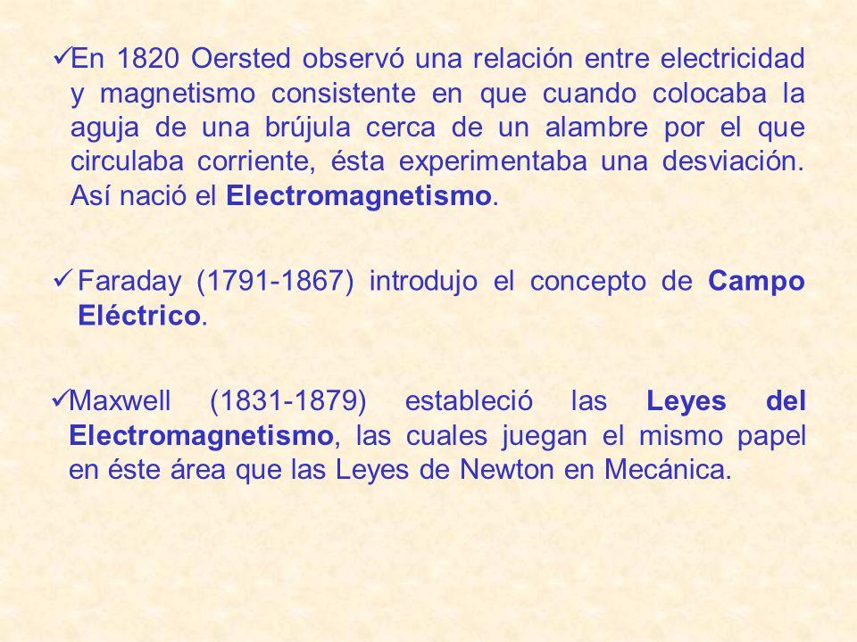 En 1820 Oersted observó una relación entre electricidad y magnetismo consistente en que cuando colocaba la aguja de una brújula cerca de un alambre por el que circulaba corriente, ésta experimentaba una desviación. Así nació el Electromagnetismo.