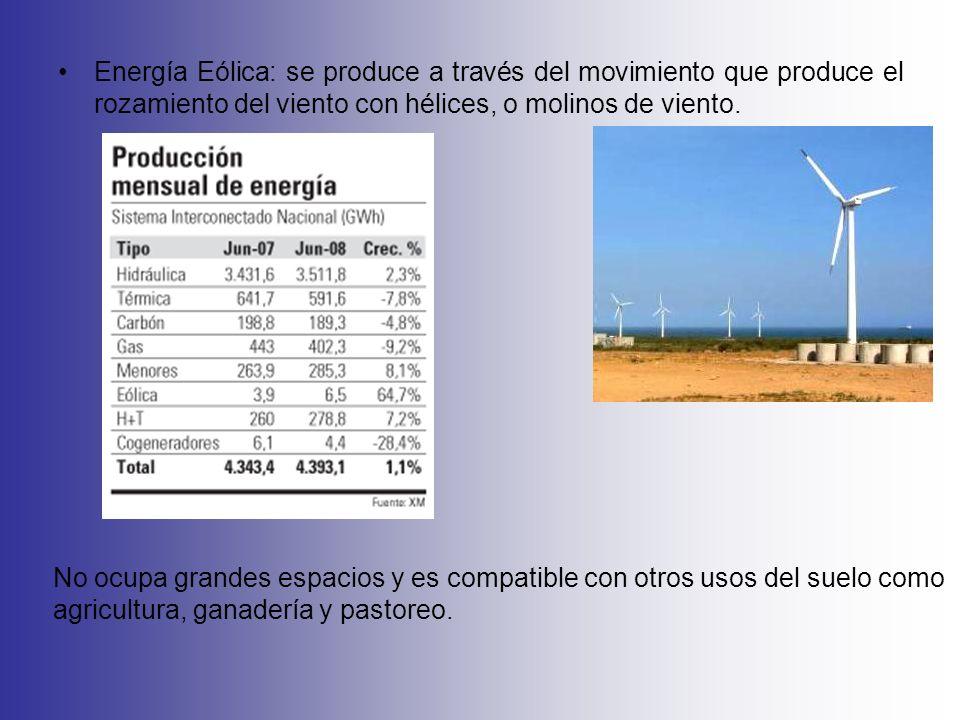 Energía Eólica: se produce a través del movimiento que produce el rozamiento del viento con hélices, o molinos de viento.
