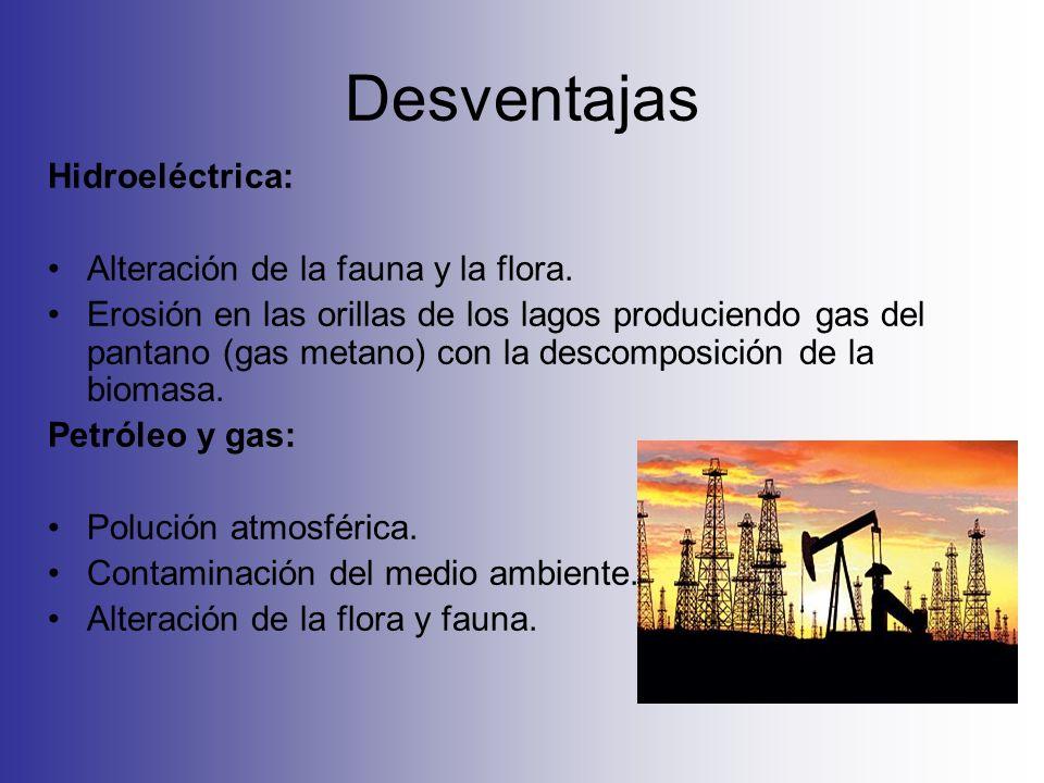 Desventajas Hidroeléctrica: Alteración de la fauna y la flora.