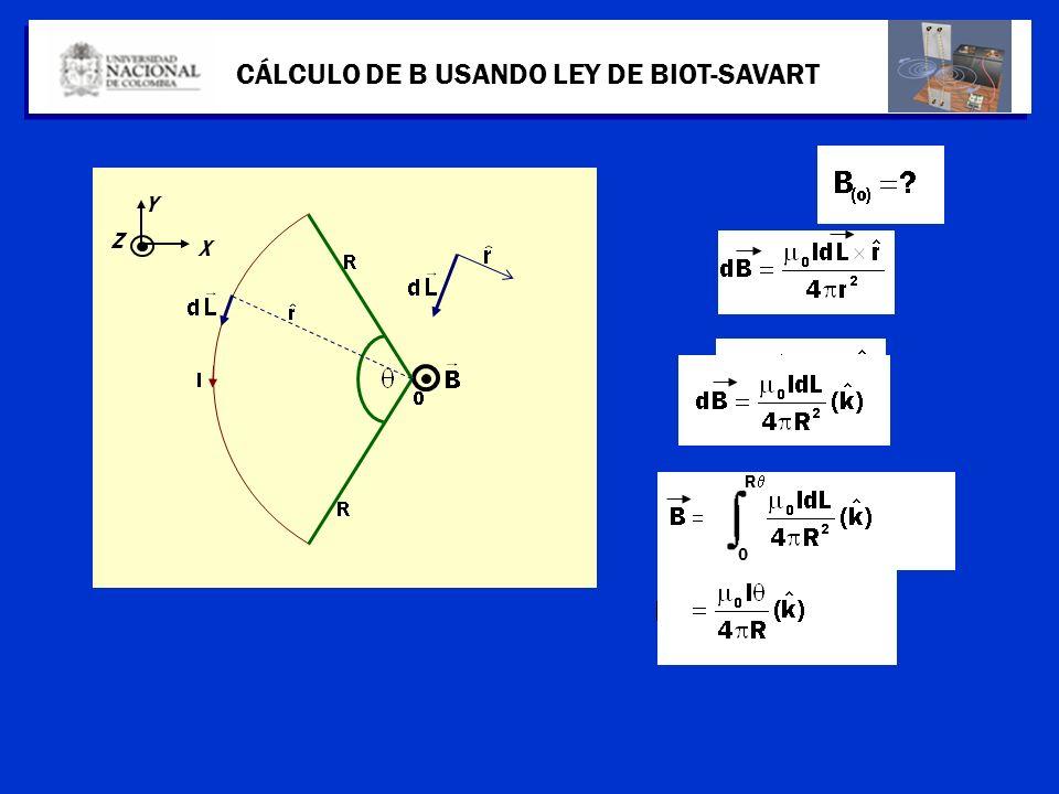 CÁLCULO DE B USANDO LEY DE BIOT-SAVART