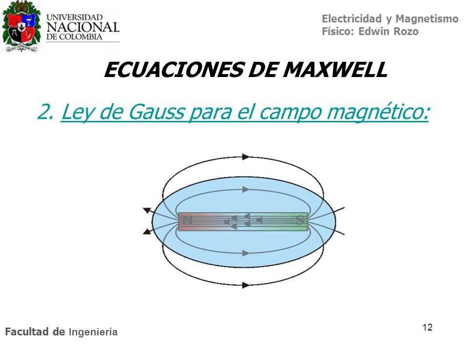 2. Ley de Gauss para el campo magnético: