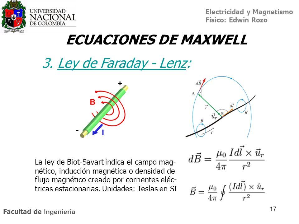 ECUACIONES DE MAXWELL 3. Ley de Faraday - Lenz: