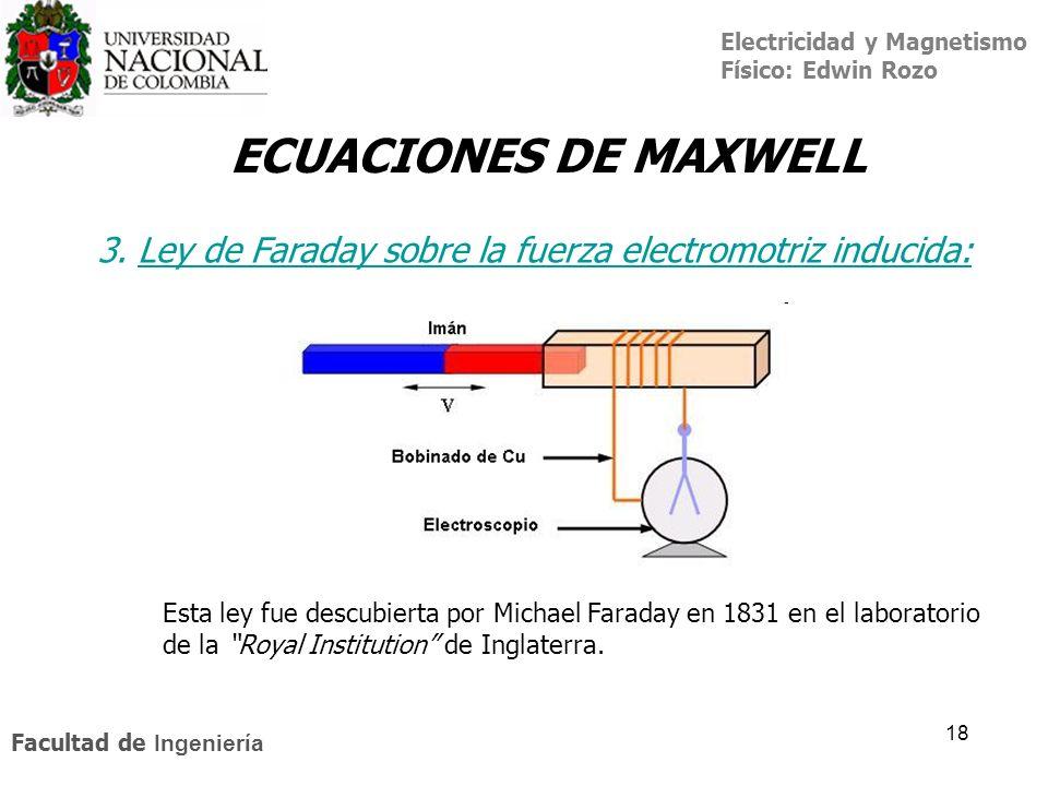 ECUACIONES DE MAXWELL3. Ley de Faraday sobre la fuerza electromotriz inducida: