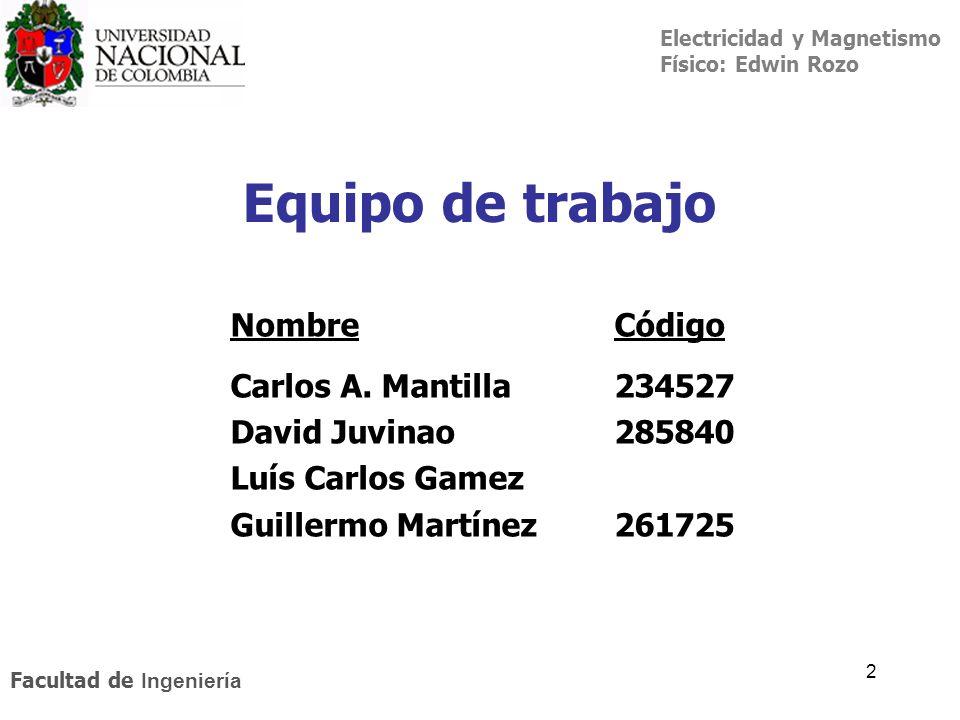 Equipo de trabajo Nombre Código Carlos A. Mantilla 234527