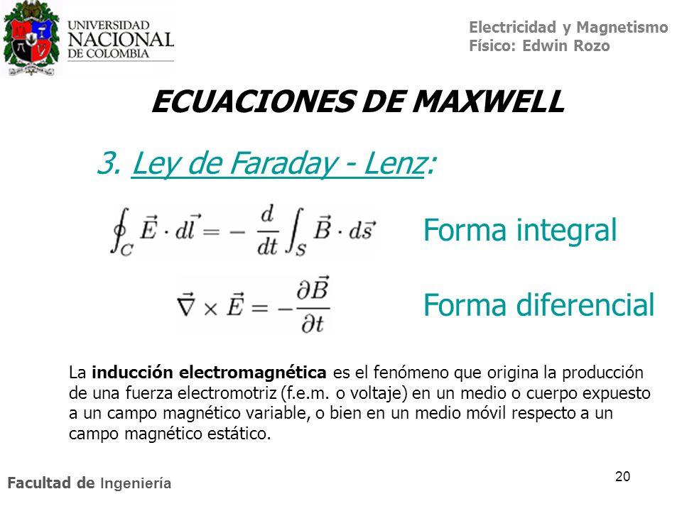 ECUACIONES DE MAXWELL 3. Ley de Faraday - Lenz: Forma integral