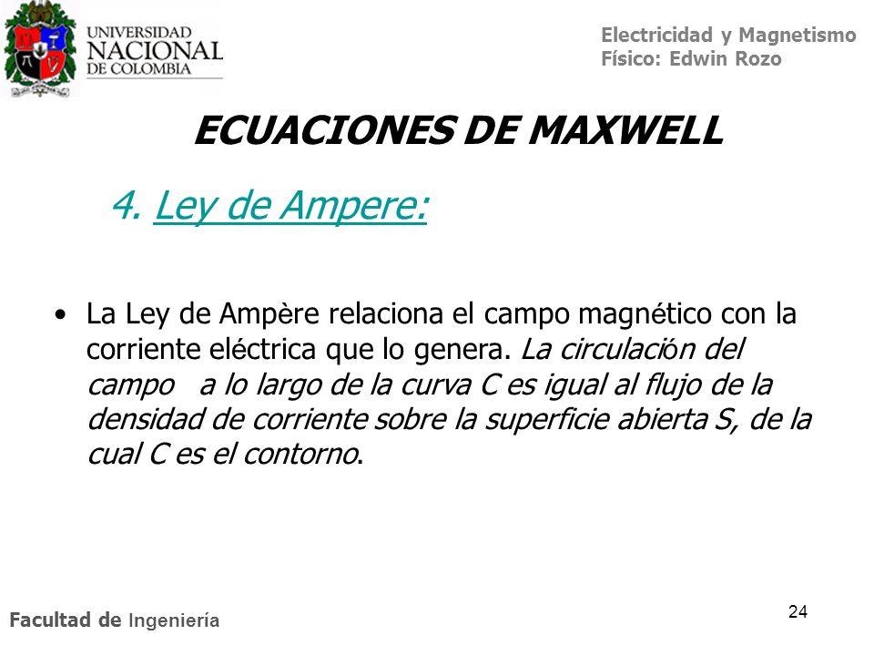 ECUACIONES DE MAXWELL 4. Ley de Ampere: