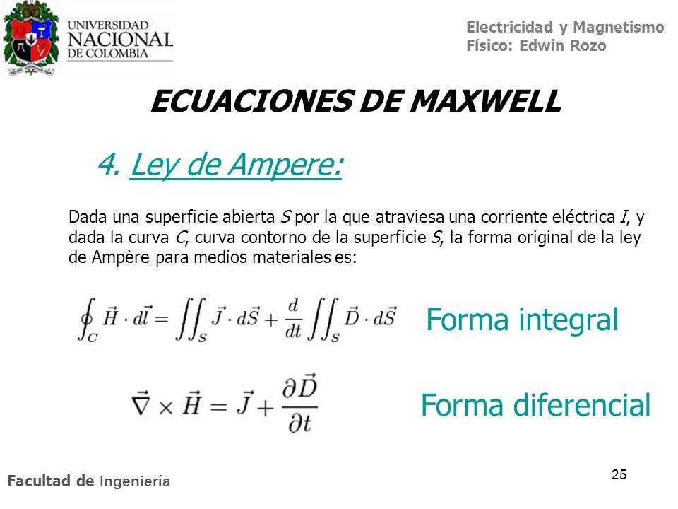 ECUACIONES DE MAXWELL 4. Ley de Ampere: Forma integral
