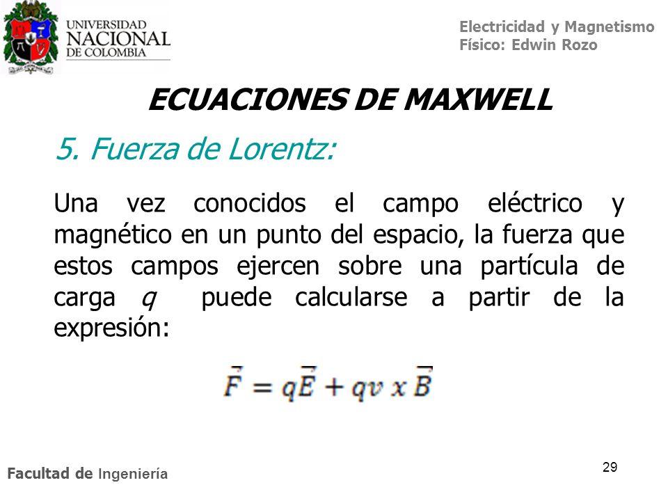 ECUACIONES DE MAXWELL 5. Fuerza de Lorentz: