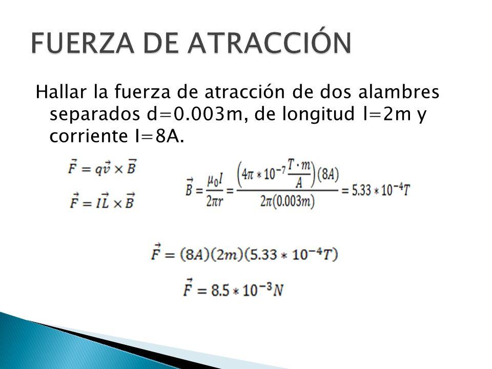 FUERZA DE ATRACCIÓN Hallar la fuerza de atracción de dos alambres separados d=0.003m, de longitud l=2m y corriente I=8A.