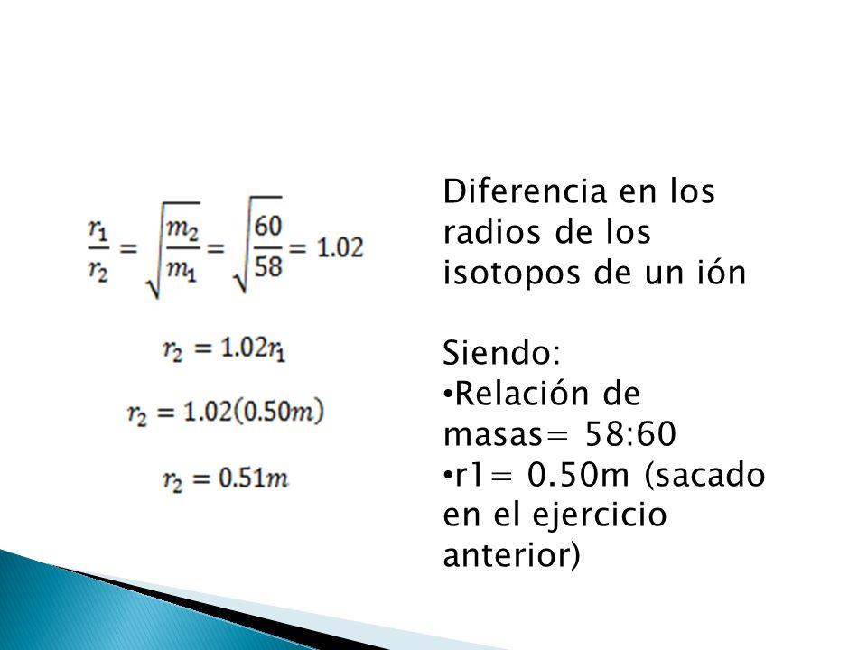 Diferencia en los radios de los isotopos de un ión