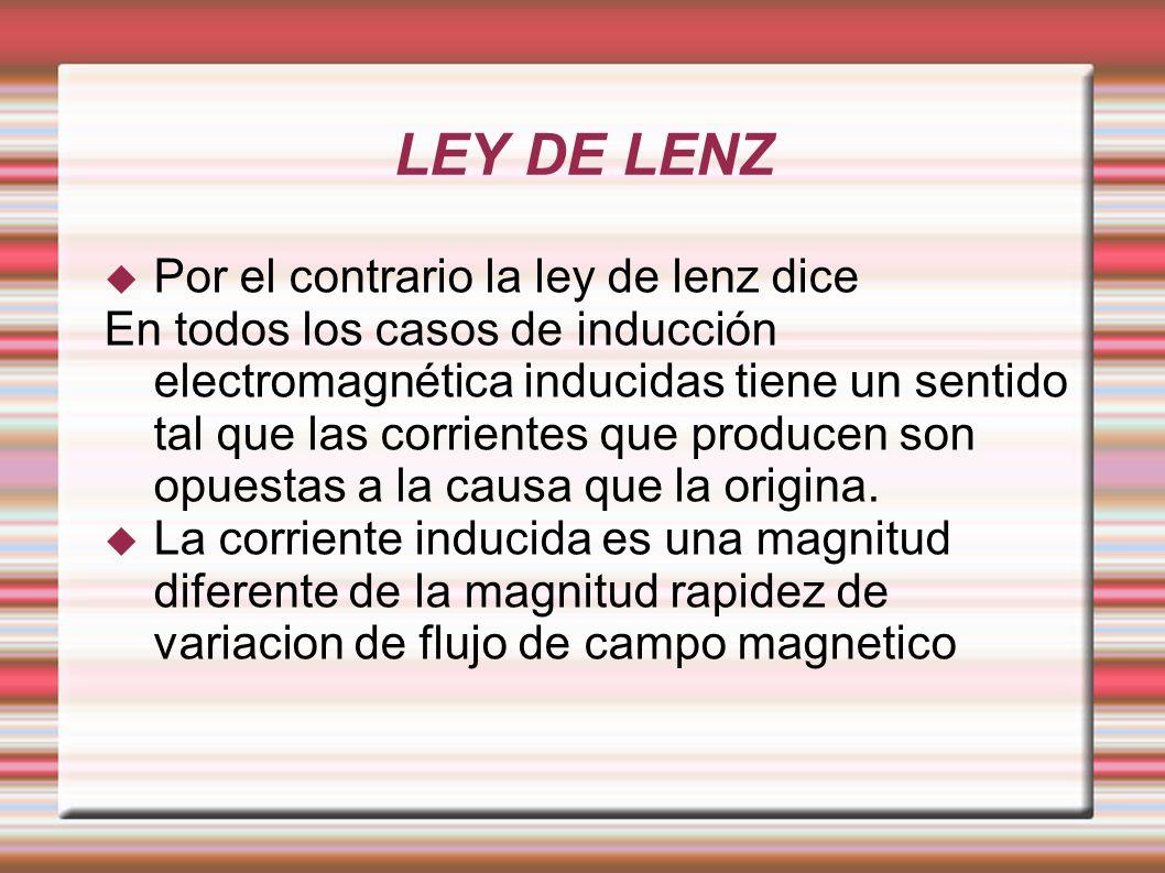 LEY DE LENZ Por el contrario la ley de lenz dice