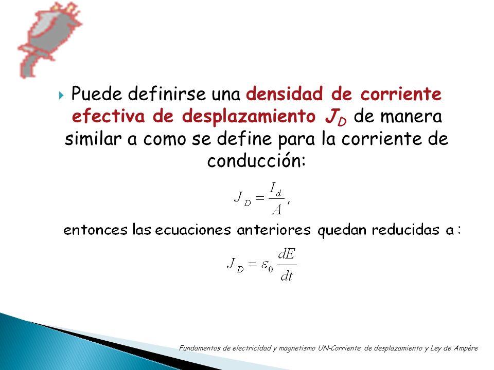 Puede definirse una densidad de corriente efectiva de desplazamiento JD de manera similar a como se define para la corriente de conducción: