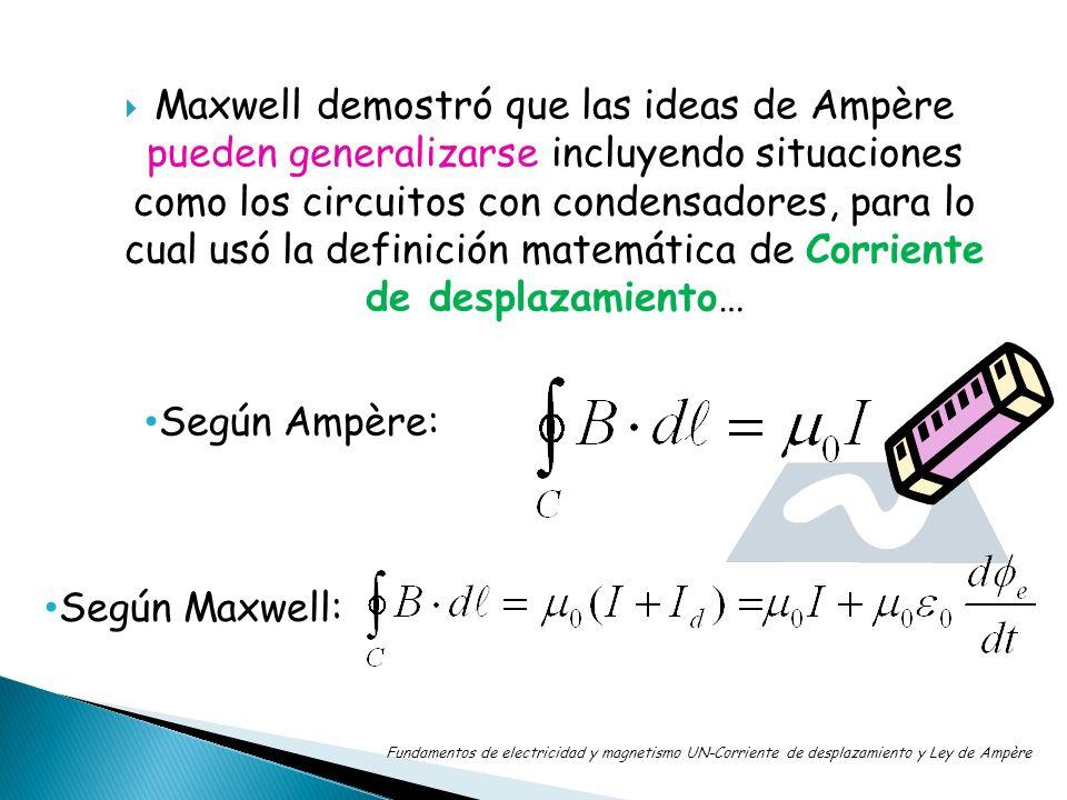 Maxwell demostró que las ideas de Ampère pueden generalizarse incluyendo situaciones como los circuitos con condensadores, para lo cual usó la definición matemática de Corriente de desplazamiento…