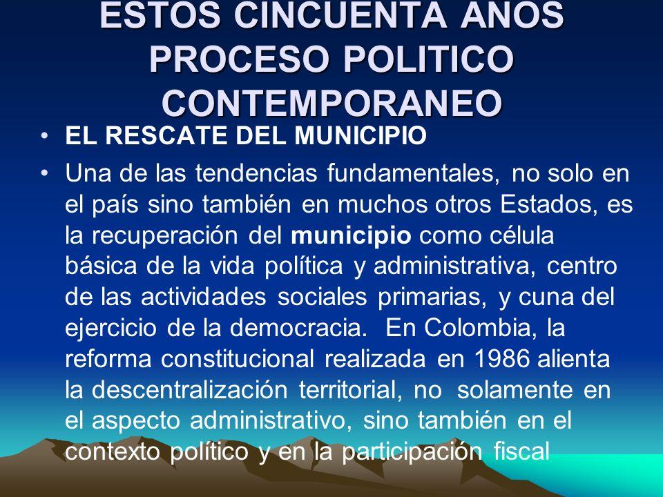 ESTOS CINCUENTA AÑOS PROCESO POLITICO CONTEMPORANEO