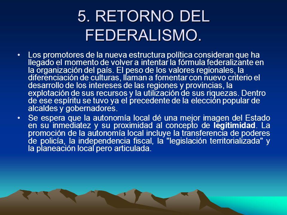5. RETORNO DEL FEDERALISMO.