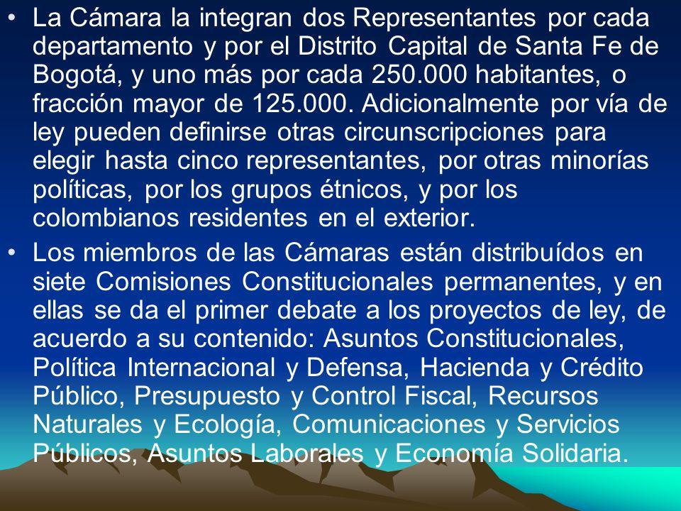 La Cámara la integran dos Representantes por cada departamento y por el Distrito Capital de Santa Fe de Bogotá, y uno más por cada 250.000 habitantes, o fracción mayor de 125.000. Adicionalmente por vía de ley pueden definirse otras circunscripciones para elegir hasta cinco representantes, por otras minorías políticas, por los grupos étnicos, y por los colombianos residentes en el exterior.