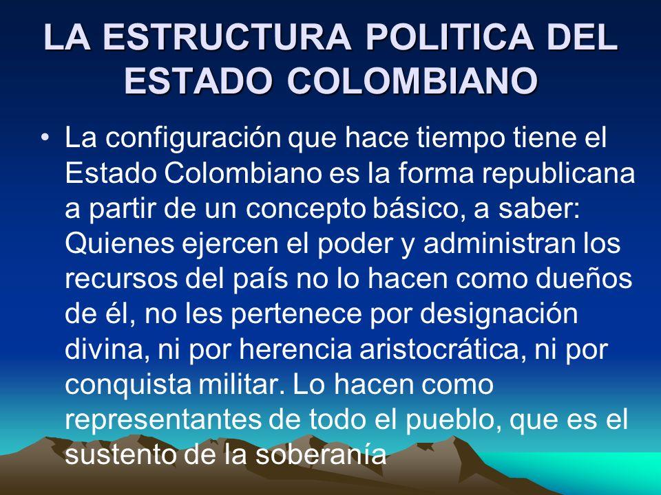 LA ESTRUCTURA POLITICA DEL ESTADO COLOMBIANO