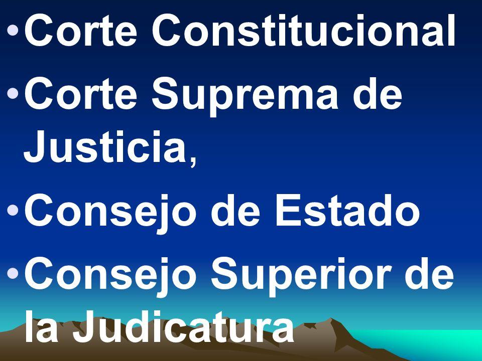 Corte Constitucional Corte Suprema de Justicia, Consejo de Estado Consejo Superior de la Judicatura
