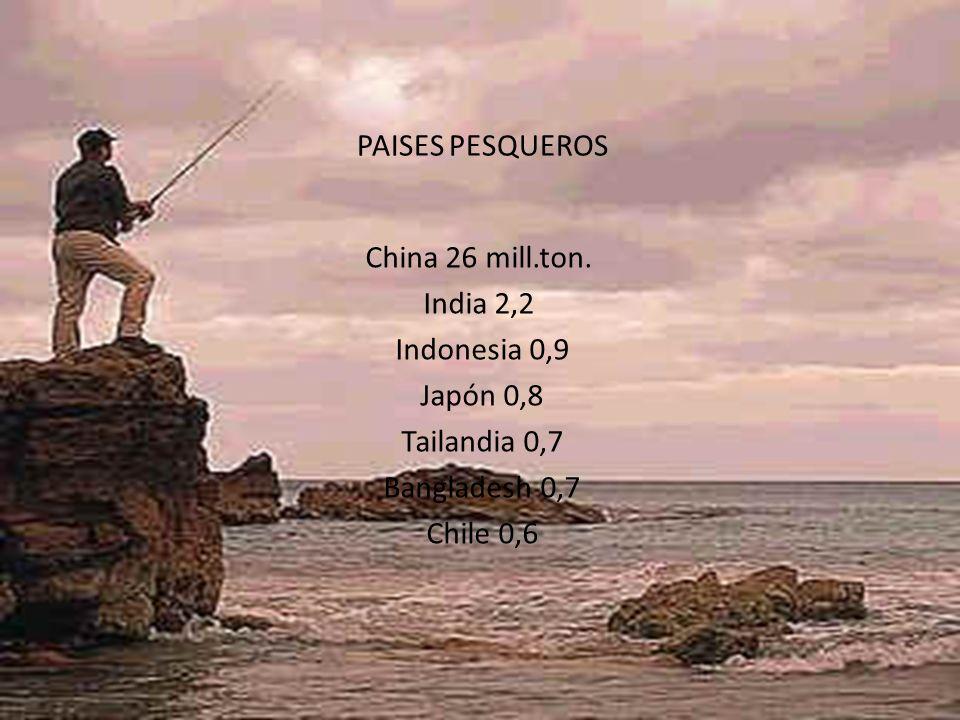 PAISES PESQUEROS China 26 mill.ton. India 2,2. Indonesia 0,9. Japón 0,8. Tailandia 0,7. Bangladesh 0,7.