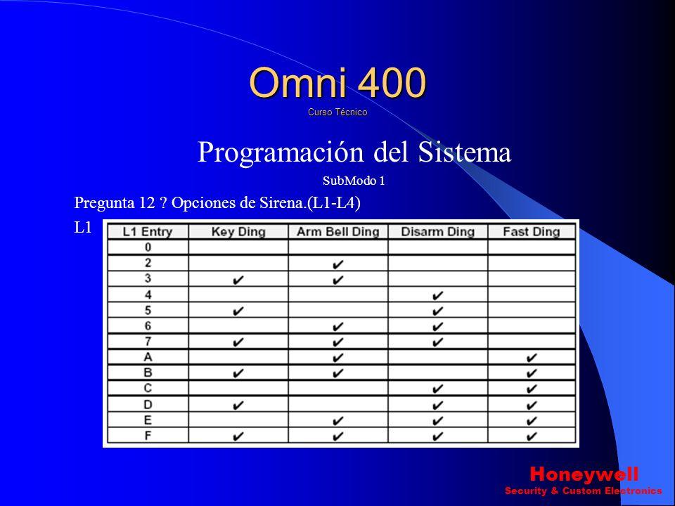 Omni 400 Curso Técnico Programación del Sistema Honeywell