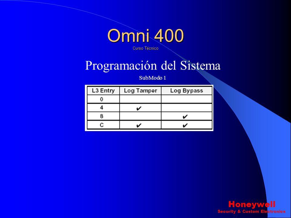 Omni 400 Curso Técnico Programación del Sistema Honeywell SubModo 1