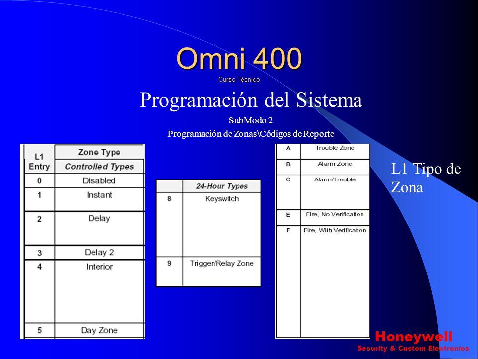 Omni 400 Curso Técnico Programación del Sistema L1 Tipo de Zona