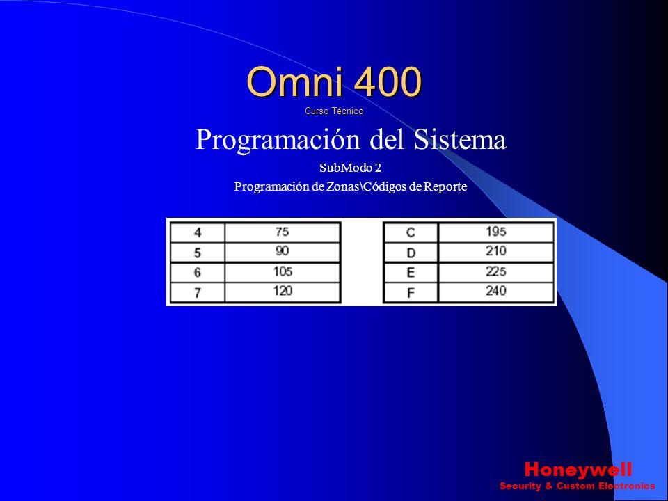Omni 400 Curso Técnico Programación del Sistema Honeywell SubModo 2