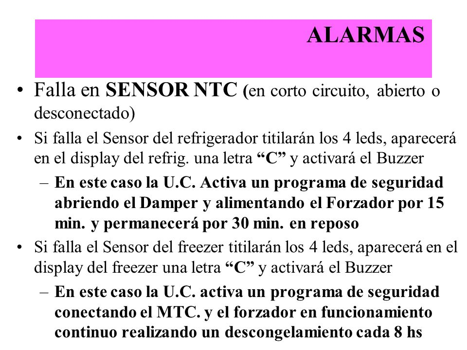 ALARMAS Falla en SENSOR NTC (en corto circuito, abierto o desconectado)