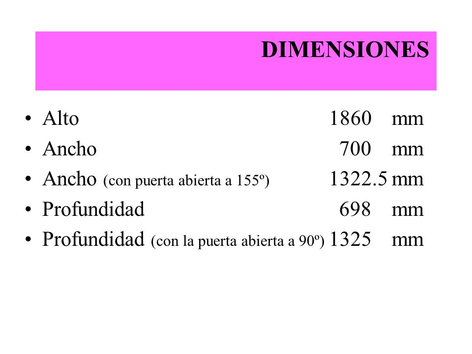 DIMENSIONES Alto 1860 mm Ancho 700 mm