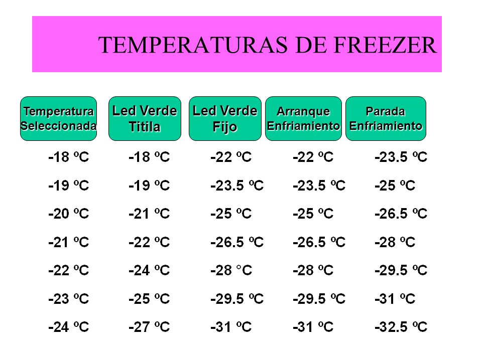 TEMPERATURAS DE FREEZER