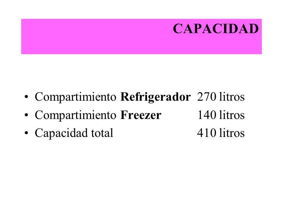 CAPACIDAD Compartimiento Refrigerador 270 litros