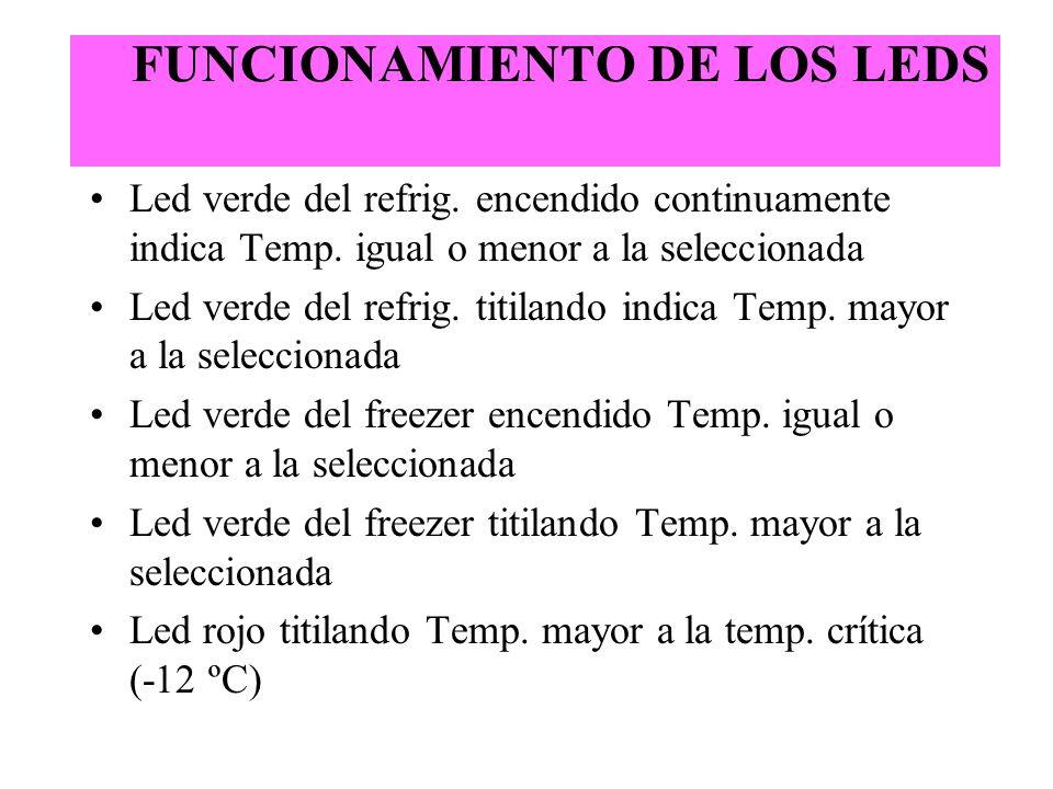 FUNCIONAMIENTO DE LOS LEDS
