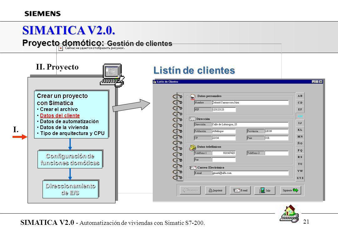 SIMATICA V2.0. Listín de clientes