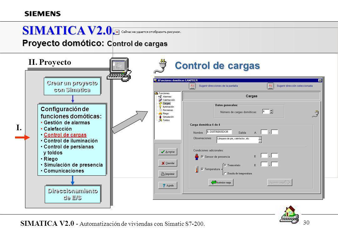 SIMATICA V2.0. Proyecto domótico: Control de cargas II. Proyecto I.