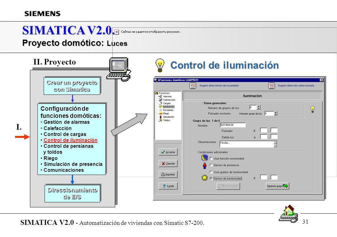 SIMATICA V2.0. Proyecto domótico: Luces II. Proyecto I.