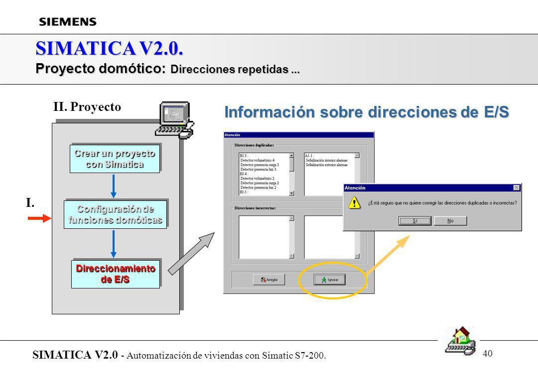SIMATICA V2.0. Información sobre direcciones de E/S