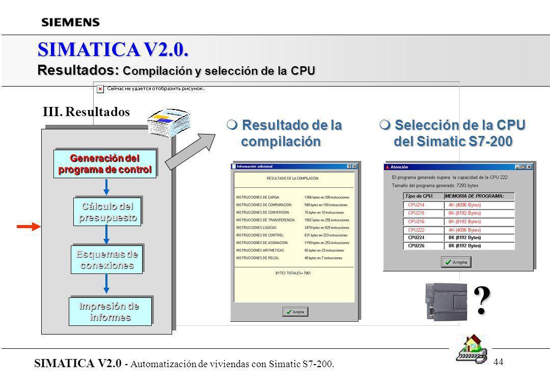SIMATICA V2.0. Resultados: Compilación y selección de la CPU